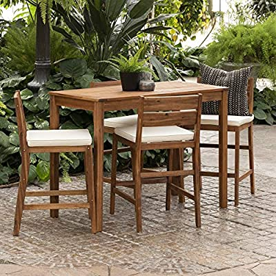 Walker Edison Catalina Contemporary 5 Piece Solid Acacia Wood Counter Height Outdoor-Dining-Table-and-Chair Set, Set of 5, Brown
