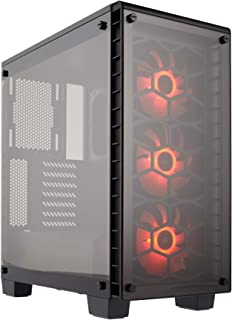 CORSAIR Crystal 460X RGB Compact Mid-Tower Case, 3 RGB Fans, Tempered Glass - Black