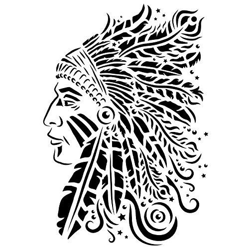 Laser-Kunststoff-Schablone, DIN A4 | perfekt geeignet für Textilgestaltung, Wandgestaltung, Fenster, Papier, Scrapbooking, Kinder, Basteln, DIY (Indianer)