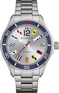 Nautica Men's Cruise NST 1 Flags NAPNSI806 Silver Stainless-Steel Quartz Fashion Watch