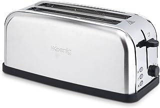 H.Koenig Grille Pain Toaster Spécial Baguette 2 Tranches TOS28 Fentes larges Inox vintage, 7 Niveaux de brunissage, Décong...