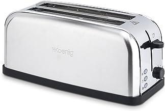 H.Koenig TOS28 Grille Pain Toaster Spécial Baguette 2 Tranches Fentes larges Inox vintage, 7 Niveaux de brunissage, Décong...
