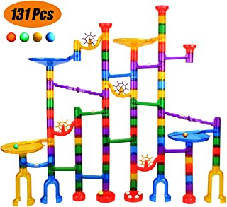 iHeoco Marble Run - 131pcs Glowing Marble Race Track Toy for STEM Learning - Marble Maze Game - BPA Free Educational Construction Building Blocks Gift for 4+ Boys Girls (Incl 4 LED Glowing Marbles)