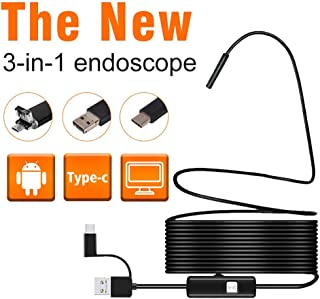 QYLT Endoscopio 3 en 1 USB/Micro USB/Tipo C Camara Endoscopica 2.0MP CMOS HD Cámara Inspección 6 LED/IP67 Semi Rígido Impermeable Boroscopio para Tableta Smartphone y Portátil