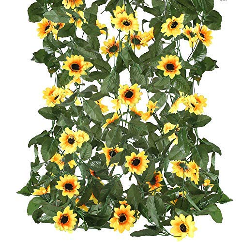 XHXSTORE - 4 guirnaldas de girasol, artificiales, ratán, seda artificial, girasol, plantas colgantes para boda, fiesta, pared, hogar, jardín, balcón, decoración de 19 m