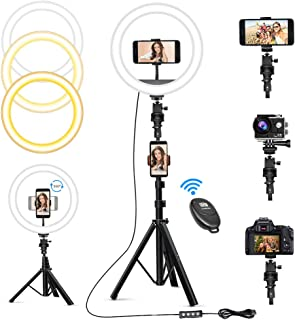 """10"""" Selfie Ring Light with 63"""" Tripod Stand & 3 Phone Holders, Dimmable Led Camera Ringlight for Live Streaming, YouTube, ..."""