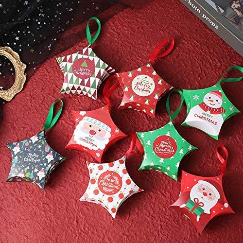 【BEAUTY PLAYER】ギフトボックス キャンディーボックス クリスマス お菓子 ラッピング 8個セット 手提げボックス ギフトラッピング クリスマス プチギフト 個包装 クリスマス チョコレート クッキー リンゴ キャンディーボックス(五芒星)
