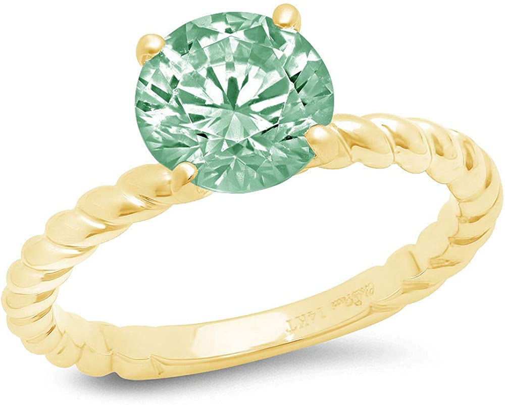 1.9ct Round Cut Solitaire Rope Twisted Knot Light Sea Green Simulated Diamond Cubic Zirconia Ideal VVS1 Engagement Wedding Bridal Promise Anniversary Ring Solid 14k yellow Gold for Women