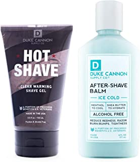 Duke Cannon Perfect Shave Set for Men: Hot Shave Clear Warming Shave Gel (4.5oz) + Ice Cold After-Shave Balm (6oz)
