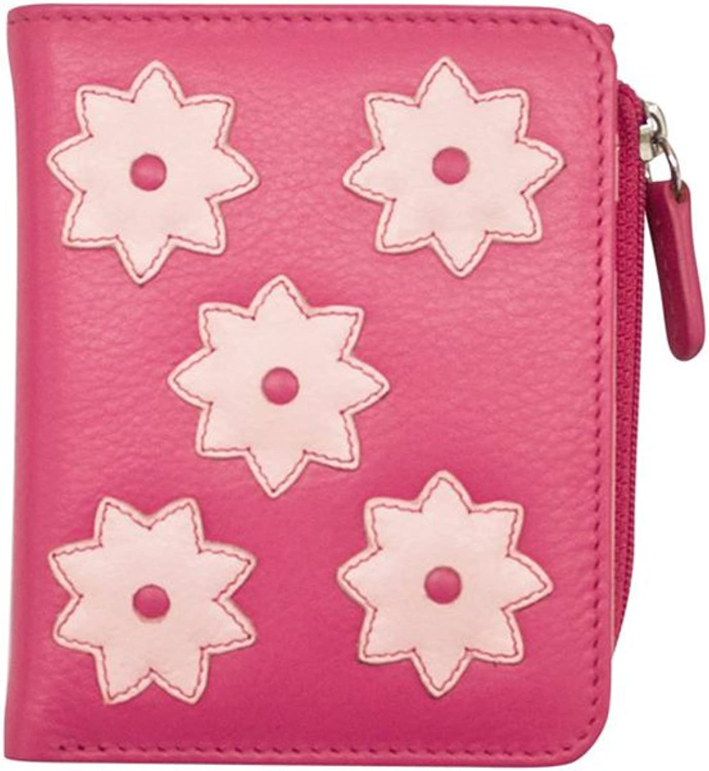 Ili 7803 Leather Flower Power Small Wallet with RFID Blocking Lining