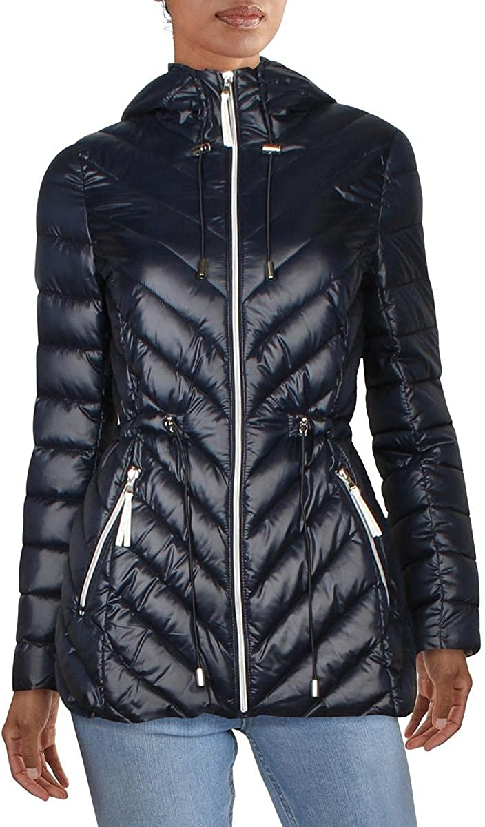 French Connection Women's Lightweight Chevron Quilted Packable Anorak Jacket