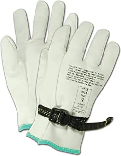 "Magid PowerMaster 12501PS Leather Linesman Protector Glove, for Use Over a Class 00 or Class 0 Rubber Insulating Glove, 9.5"" Length, Size 8 (One Pair)"