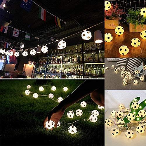 Aneagle Garen - Guirnalda de luces de fútbol con 20 luces LED en forma de fútbol, divertida cadena de luces de fútbol, decoración del hogar para fiestas temáticas, festivales (1 unidad), color blanco