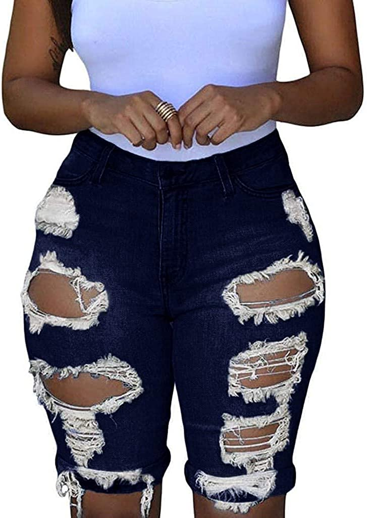 Depslee Women's Denim Shorts, Short Jeans with Stretch Frayed Frayed Hem, Summer Women's Denim Shorts hot Pants with Pockets (Z1-Navy,X-Large)