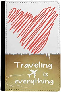 Heart Red Line Sketch Valentine's Day Traveling quato Passport Holder Travel Wallet Cover Case Card Purse