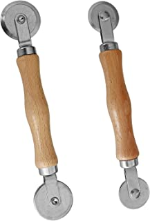 Screen Retainer Rolling Tool Spline Repair Roller with Wooden Handle and Steel Bearing Wheel(Pack of 2)