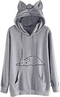 Womens Hooded Pullover Cute Cat Ear Solid Long Sleeve Hoodie Sweatshirt Tops Blouse