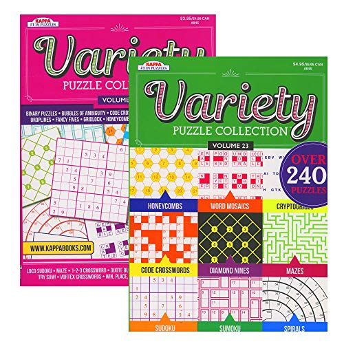 Kappa Variety Puzzles & Games Book 2 Titles, Word Search Find Words Books for Adults Teens, Training Learning with Game, 48-Pack
