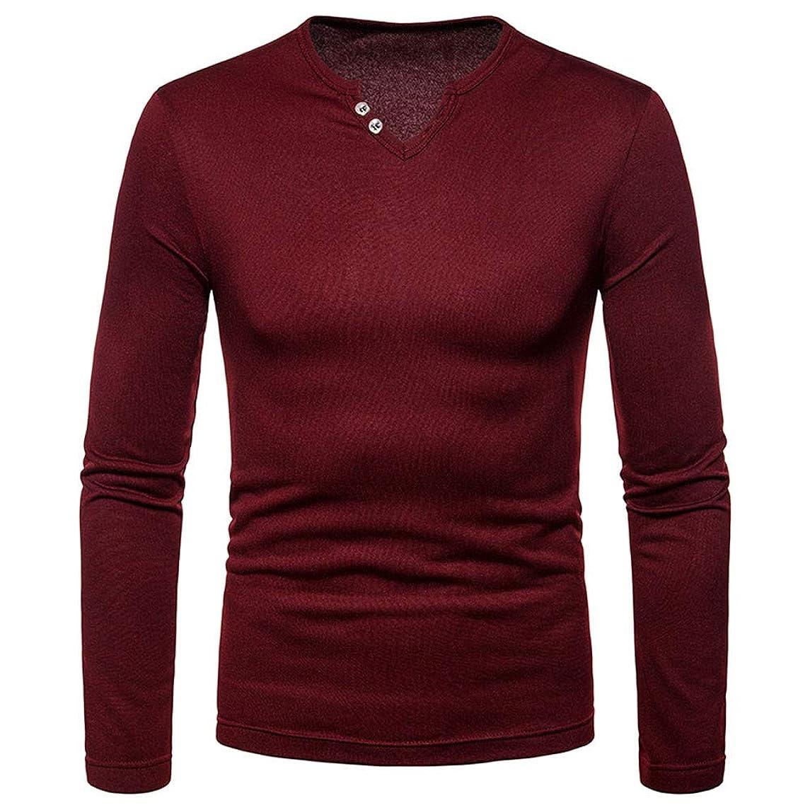 iLXHD 2018 Mens Casual Sweartshirts Solid Long Sleeve V-Neck T-Shirt Blouse Tee