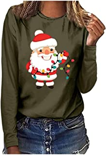 Acilnxm Womens Long Sleeve Round Neck Christmas Printed Tops Casual Oversized Blouses