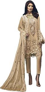 فستان نسائي بيج للحفلات مطرز ثقيل من جورجيت فستان هندي باكستاني مسلم بوليوود 6215