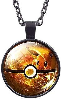 Lovelegis Collana da Ragazzo - Pokemon Go - Catena Nera - Sfera Pokè - Pokeball - Pikachu - Colore Giallo