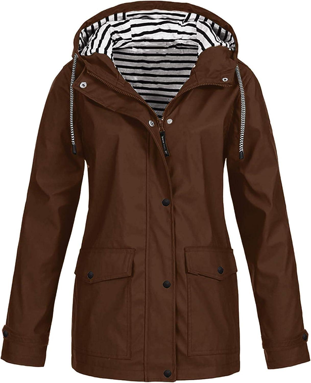 VEKDONE Women Raincoats Rain Jackets Plus Size Lightweight Waterproof Trench Coat Outdoor Packable Windbreaker S-5XL