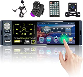 Hikity Single Din Car Stereo Touchscreen 4.1 Inch Bluetooth AM FM RDS Radio Receiver with Rear Microphone Input USB SD AUX... photo