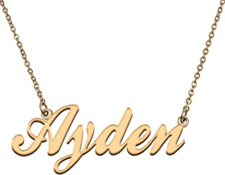 HUAN XUN Custom Personalized Gold Name Necklace in Gold Silver for Women