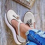 Sandalias de cinturón de moda para mujer, con hebilla y borla, tacón plano, estilo casual, tacón alto, zapatos de plataforma, talla grande, color beige, 35