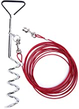 Dog Stake Tie Out Cable and Reflective Stake 16 ft Outdoor, Yard and Camping, for Medium to Large Dogs Up to 125 lbs