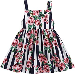 snowvirtuosau Cute Summer Floral Print Sling Dress Baby Girls Princess A-line Dresses