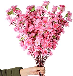 Callu 10Pcs Artificial Flowers Peach Blossom Simulation Peach Branches Flowers Silk Peach Flowers Bouquets Faux Spring Peach Fake Plants for Wedding Home Christmas Indoor Outdoor Decorative (Pink)