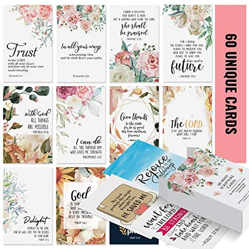Prayer Cards - 60 Mini Scripture Cards with Assorted Bible Verses. Perfect for Women�s Bible Studies, Daily Devotional for Women and Inspirational Christian Gift for Women by Dessie