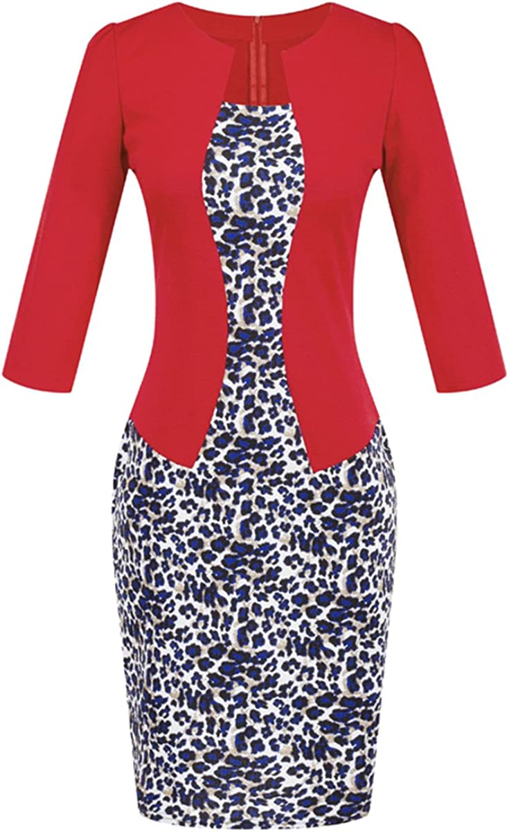 YMING Womens Work Dress 3/4 Sleeve Patchwork Floral Print Knee Length Dress with Belt
