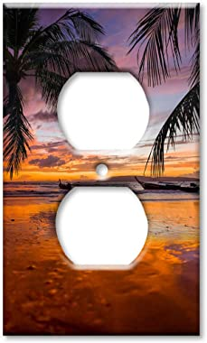 Art Plates OVER SIZED Outlet Cover/OVERSIZE Outlet Switch Plate - Orange & Purple Sunrise at the Beach