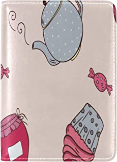 Passport Cover Case Teapot Vintage Art Design Tea Set Cup Art Hand Drawn Leather&microfiber Multi Purpose Print Passport Holder Travel Wallet For Women And Men 5.51x3.94 In