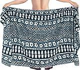 LA LEELA Men's Swimwear Wraps Sarong Cover Up Resort Wraps One Size Black_M553