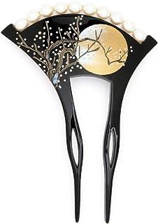(ソウビエン) バチ型簪 黒 ブラック 桜 花 月 手描き 蒔絵調 フェイクパール 螺鈿 貝殻 フォーマル かんざし ヘアアクセサリー 日本製