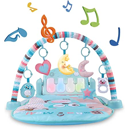 Temi Baby Gym Toys & Activity Play Mat, Kick and Play Piano Gym Center with Music and Lights, Electronic Learning Toys for Infants, Toddlers, Newborn, Girls and Boys Ages 1 to 36 Months
