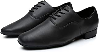 QueenBB Men's Breathable Lace-Up Dancing Leather Latin Shoes for Men Salsa, Tango,Ballroom,Viennese Waltz,Jazz Shoe