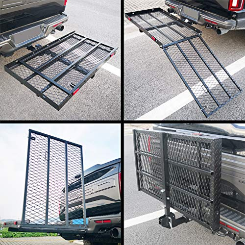 OKLEAD 500 Lbs Heavy Duty Hitch Mount Wheelchair Scooter Carrier with Ramp Folding Cargo Rack Rear Cargo Carrier Fits 2' Receiver for Car SUV Camping Traveling