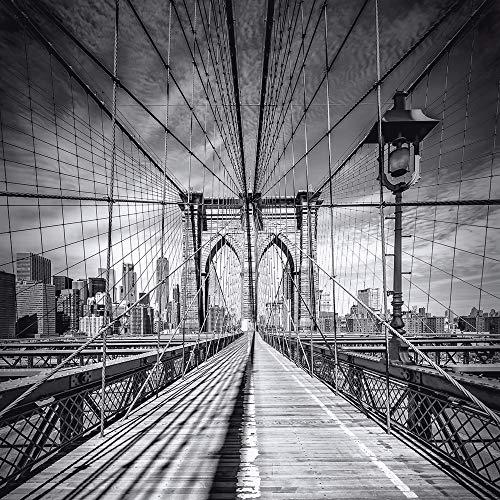 Artland Qualitätsbilder I Wandtatoo New York City Vinyl Klebefolie Wandbild Schwarz Weiß Fotografie 30x30 cm Bild auf Leinwand Brooklyn Bridge Städte H5XU