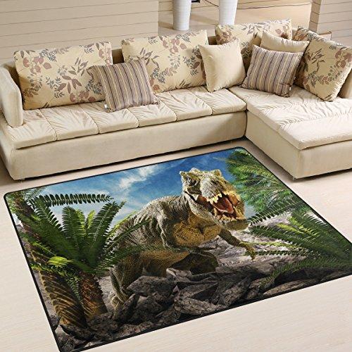 Use7 Riesiger Teppich mit Dinosaurier-Landschaft, Natur-Motiv, für Wohnzimmer, Schlafzimmer, Textil, mehrfarbig, 203cm x 147.3cm(7 x 5 feet)