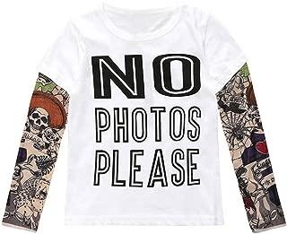 Unisex Baby Kids Boys Cotton T-Shirt with Mesh Tattoo Sleeve