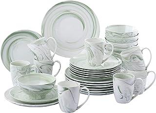 Dinnerware Sets 32 قطعة خضراء نمط الخزف السيراميك الخزف اللوحة مجموعة مع 8 لوحة العشاء، لوحة الحلوى، وعاء، مجموعة القدح Ro...