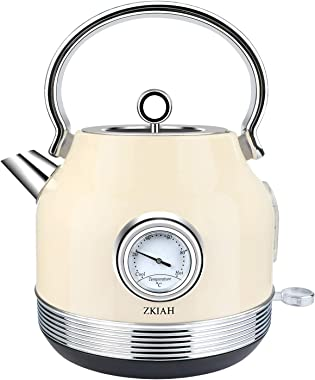 ZKIAH Electric Kettle 1.7L Stainless Steel, Vintage Fast Boiler Tea Kettle Water Heater with Temperature Dial, Boil-Dry Prote