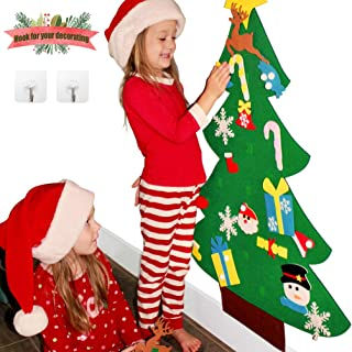 Sunboom 3ft DIY Felt Christmas Tree for Toddlers +26pcs DIY Christmas Ornaments for Kids, Wall Door Hanging Christmas Decorations Xmas Trees Decor for Kids Room, Girl Boy Toys Ideas +Free Hook