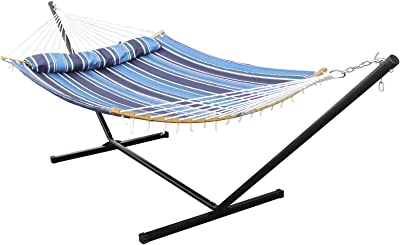 HENG FENG 2 Person Double Hammock with 12 Foot Portable Steel Stand and Curved Bamboo Spreader Bars, Detachable Pillow, Quilted Fabric Bed, Blue Stripe
