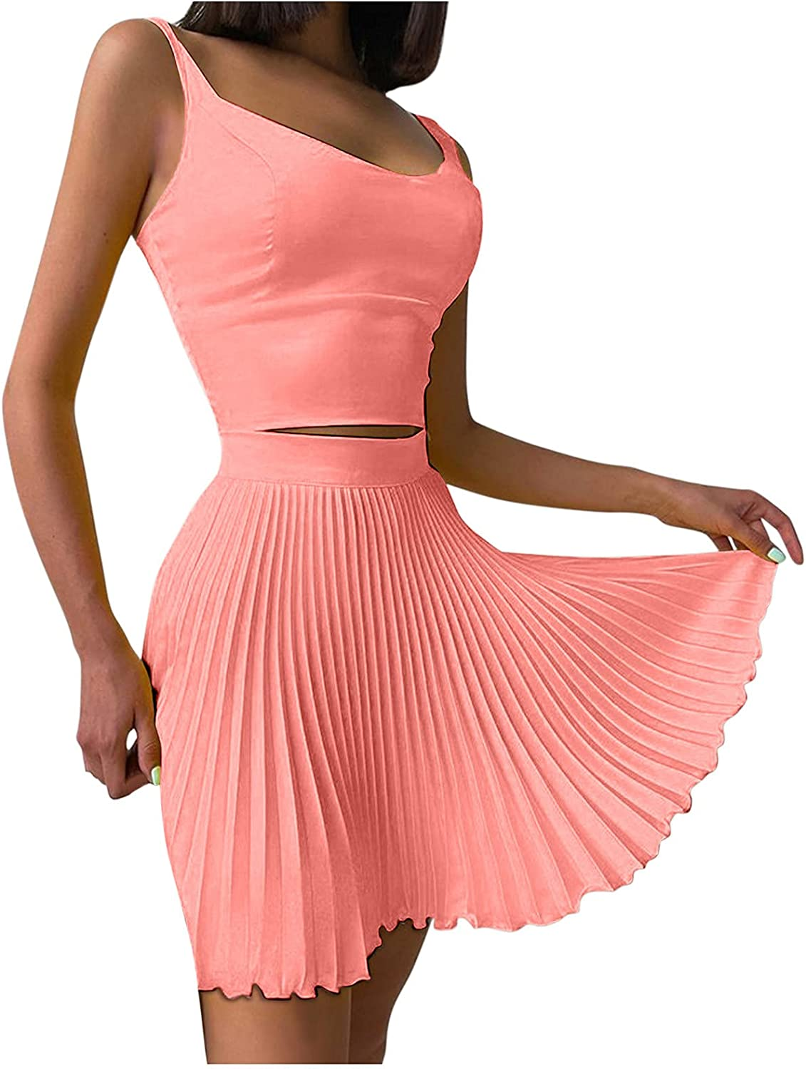 A2A 2 Piece Outfits for Women Sexy Plain Color Sleeveless Tank Crop Top Pleated Mini Skirt Set Knitted Mini Dress Suit